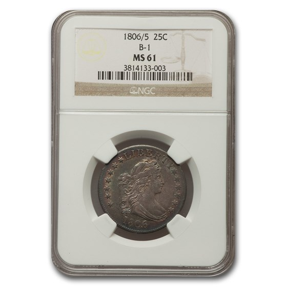 1806/5 Draped Bust Quarter MS-61 NGC