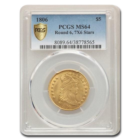 1806 $5 Turban Head Gold Half Eagle MS-64 PCGS (Rnd 6, 7X6 Stars)