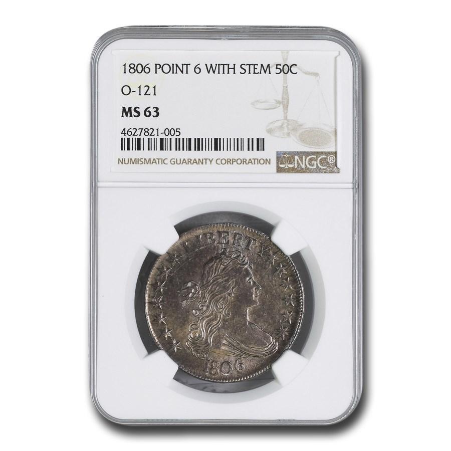 1806 Bust Half Dollar MS-63 NGC (O-121, Pointed 6, Stem)