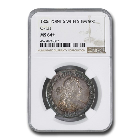 1806 Bust Half Dollar MS-64+ NGC (O-121, Pointed 6, Stem)