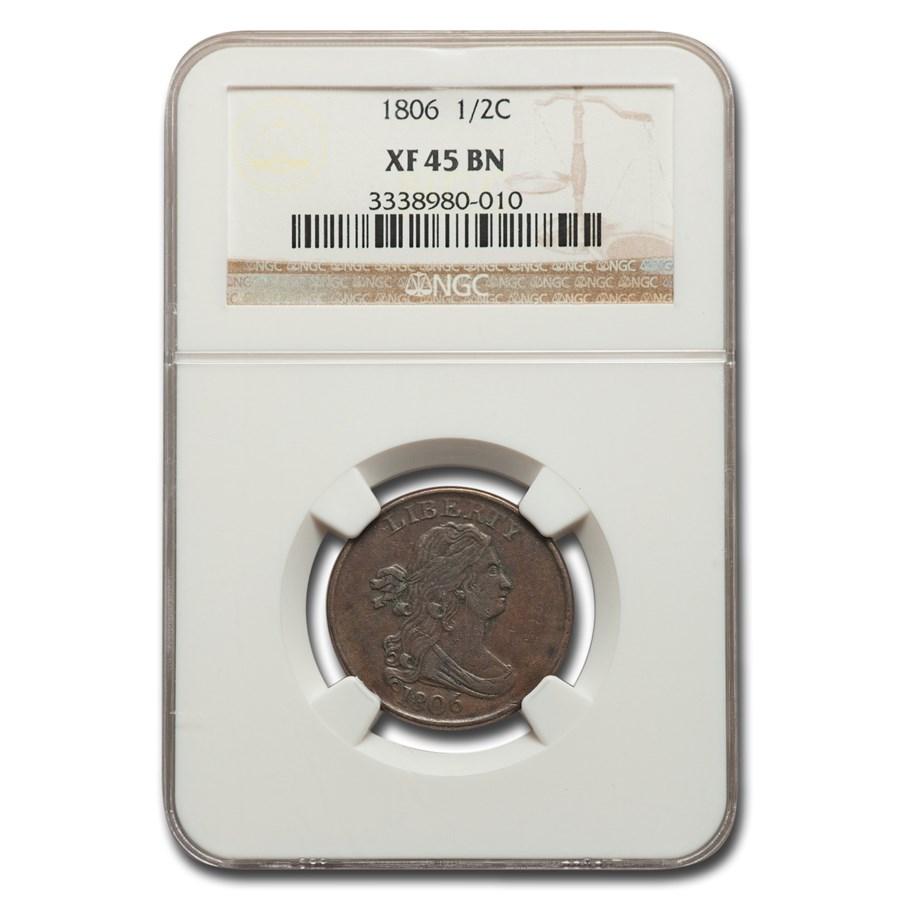 1806 Draped Bust Half Cent XF-45 NGC (Brown)