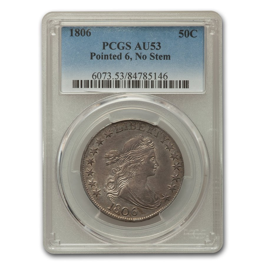 1806 Draped Bust Half Dollar AU-53 PCGS (Pointed 6, No Stem)