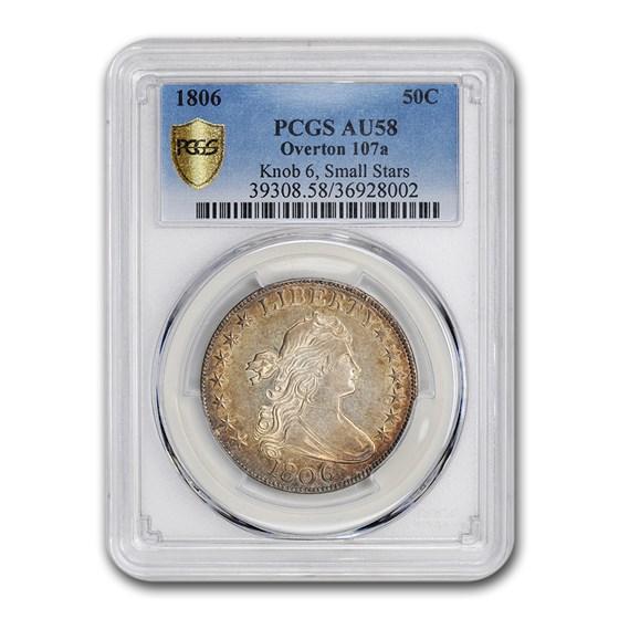 1806 Draped Bust Half Dollar AU-58 PCGS (O-107a Knob 6, Sm Stars)
