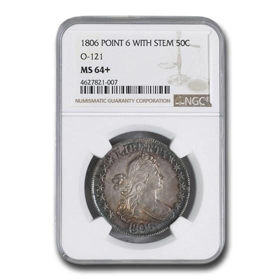 1806 Draped Bust Half Dollar MS-64+ NGC (O-121, w/Stem)