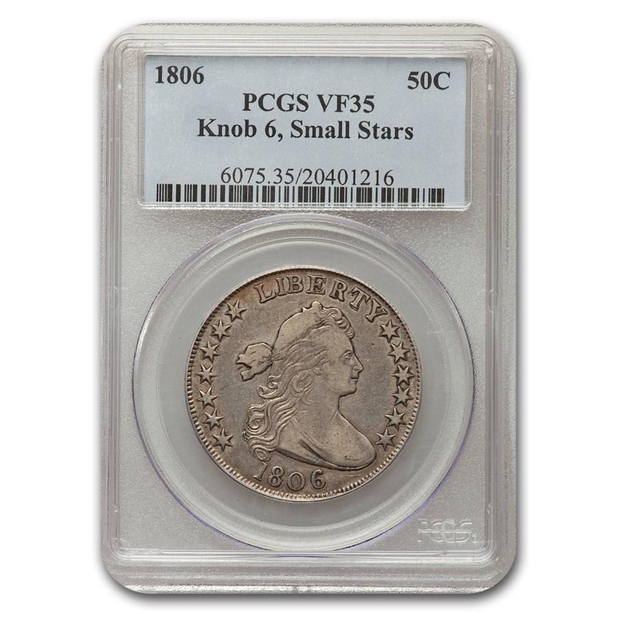 1806 Draped Bust Half Dollar VF-35 PCGS (Knob 6, Sm Stars)
