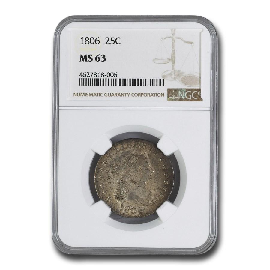 1806 Draped Bust Quarter MS-63 NGC