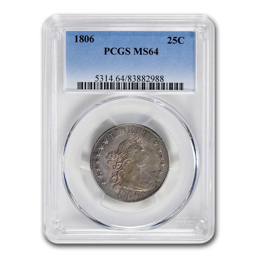 1806 Draped Bust Quarter MS-64 PCGS