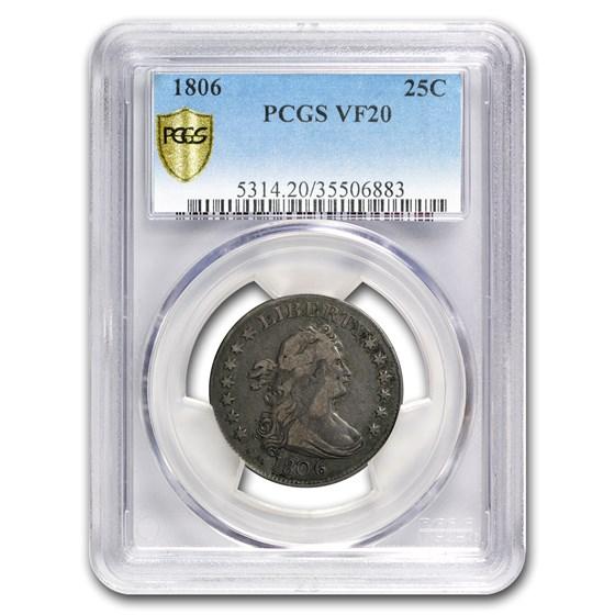 1806 Draped Bust Quarter VF-20 PCGS