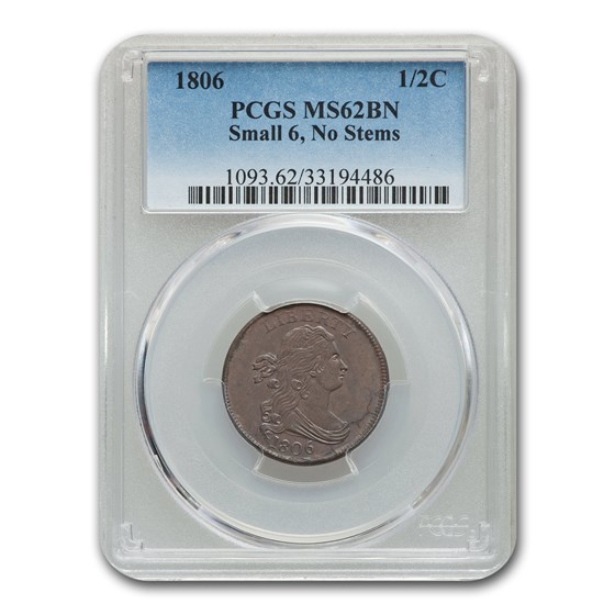 1806 Half Cent MS-62 PCGS (Brown, Small 6 No Stems)