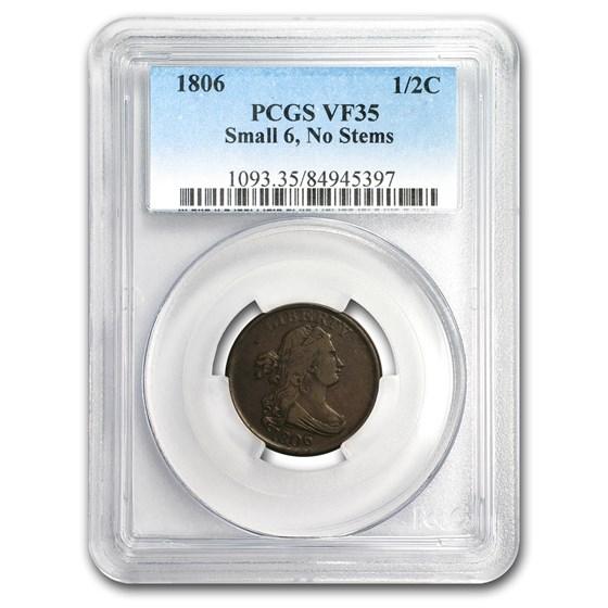 1806 Half Cent Small 6 Stemless VF-35 PCGS