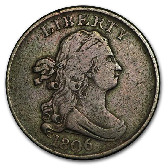 1806 Half Cent Small 6, Stemless VF