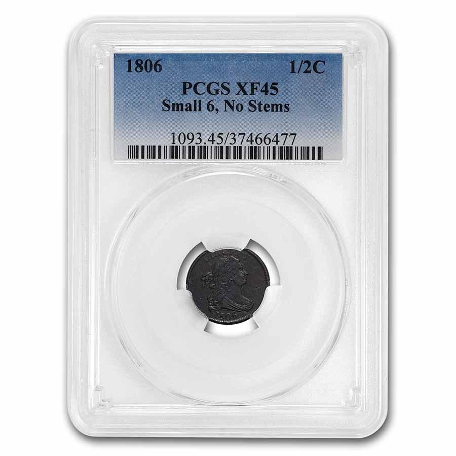 1806 Half Cent Small 6 Stemless XF-45 PCGS