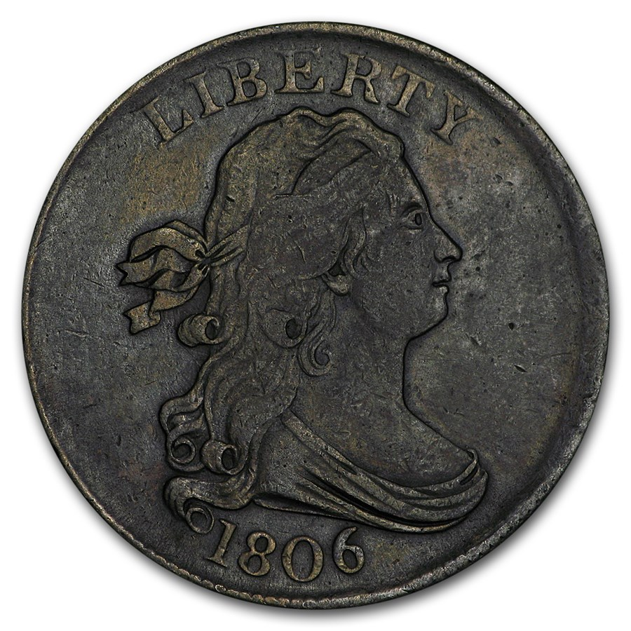 1806 Half Cent Small 6 Stemless XF