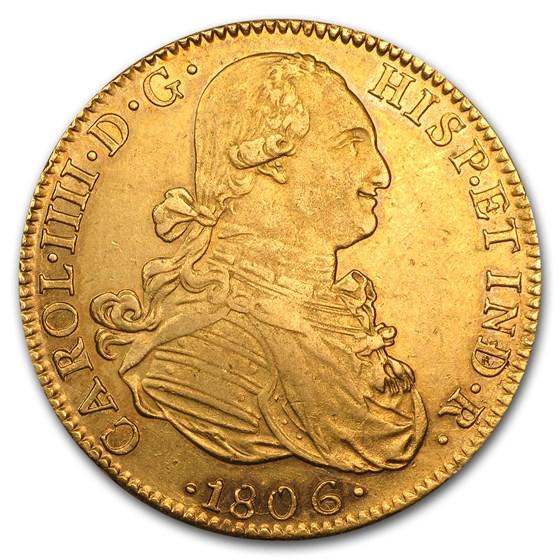1806 Mo Mexico Gold 8 Escudos Charles IV AU