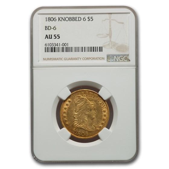1806 Turban Head $5 Gold Half Eagle Knobbed 6 AU-55 NGC