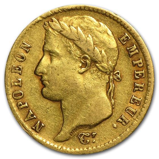 1807-1815 France Gold 20 Francs Napoleon I (Avg Circ)