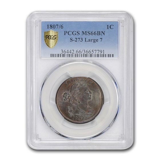 1807/6 Draped Bust Large Cent MS-66 PCGS (Brown, S-273 Large 7)