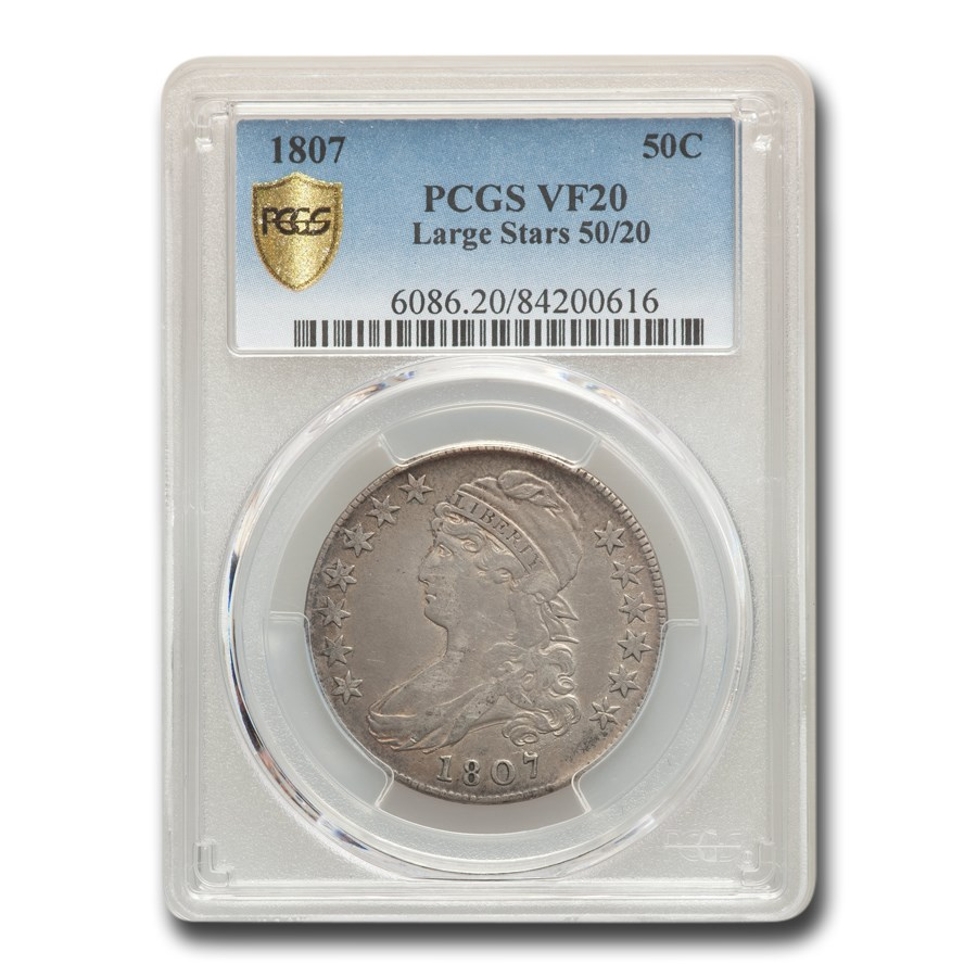 1807 Capped Bust Half Dollar VF-20 PCGS (Large Stars 50/20)