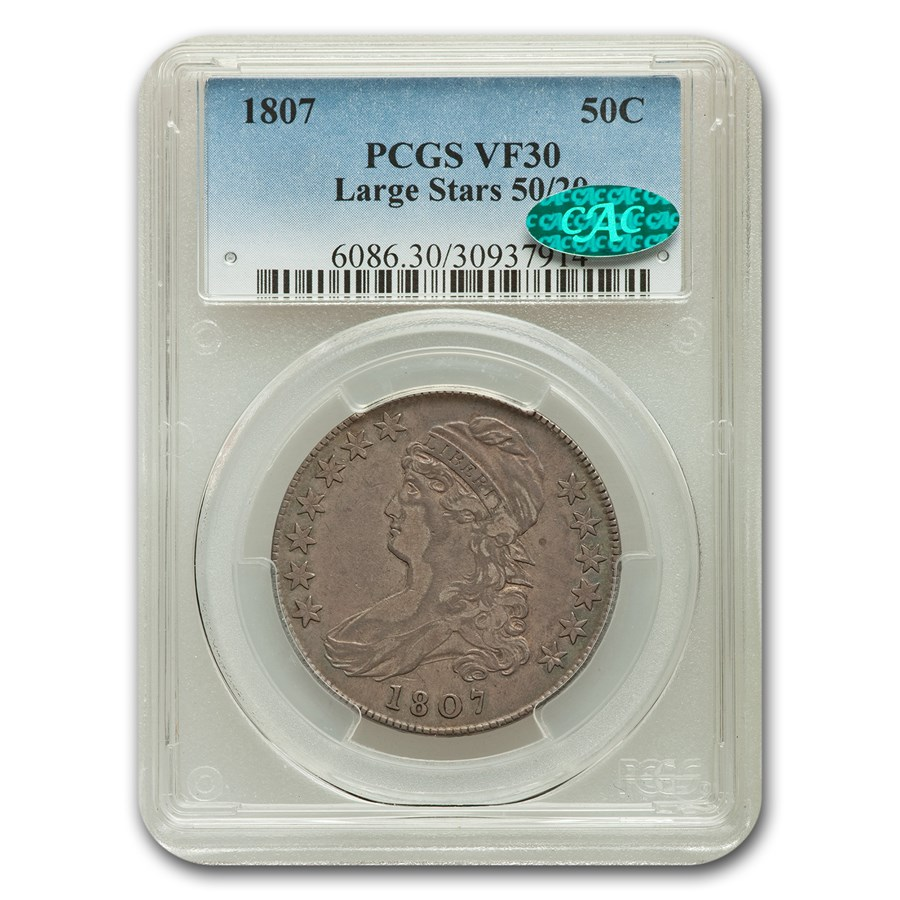 1807 Capped Bust Half Dollar VF-30 PCGS CAC (Lg. Stars 50/30)