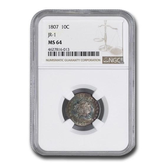 1807 Draped Bust Dime MS-64 NGC (JR-1)