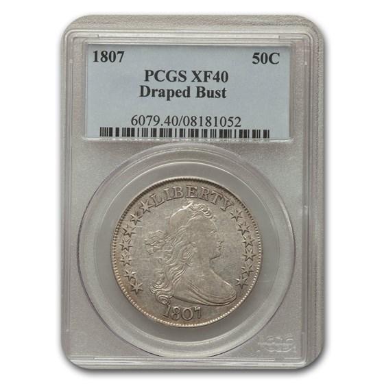 1807 Draped Bust Half Dollar XF-40 PCGS CAC (Overton 108)