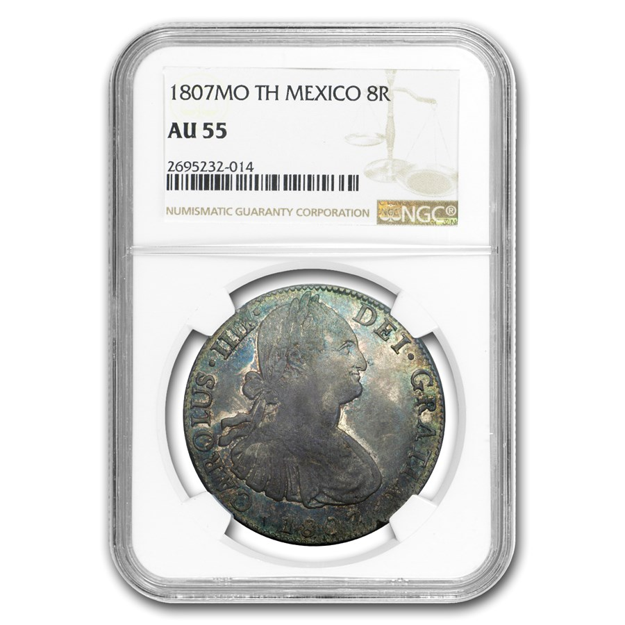 1807 Mo-TH Mexico Silver 8 Reales AU-55 NGC