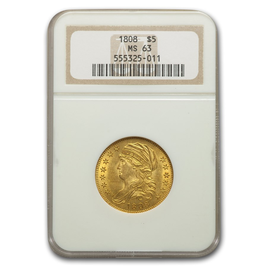 1808 $5 Capped Bust Gold Half Eagle MS-63 NGC