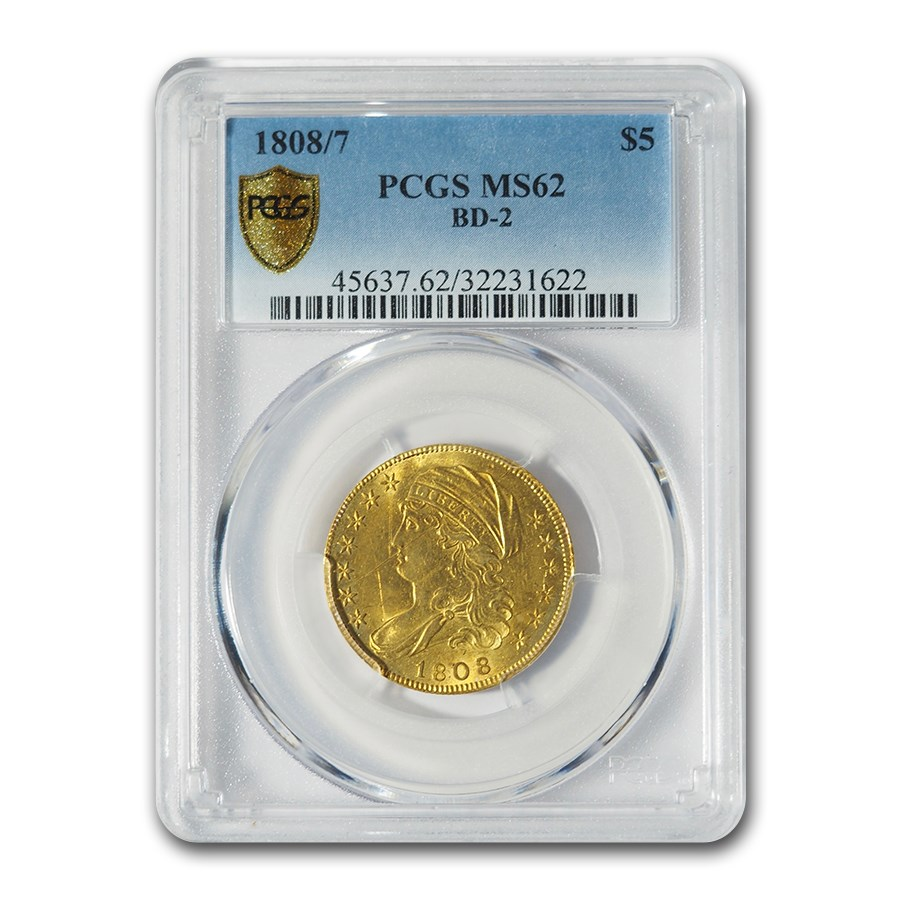 1808/7 $5 Capped Bust Gold Half Eagle MS-62 PCGS (BD-2)