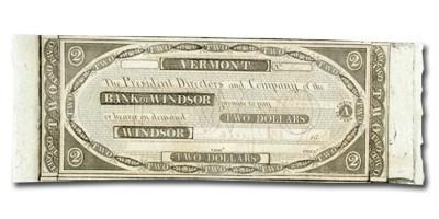 1808 Bank of Windsor, VT $2.00 Note VT-280 CU