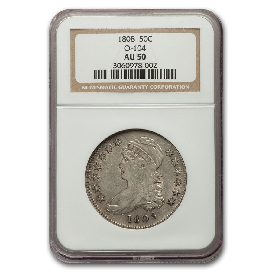 1808 Capped Bust Half Dollar AU-50 NGC (O-104)