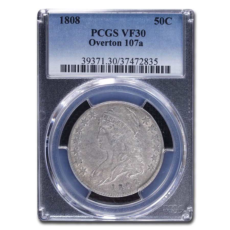 1808 Capped Bust Half Dollar VF-30 PCGS (Overton 107a)