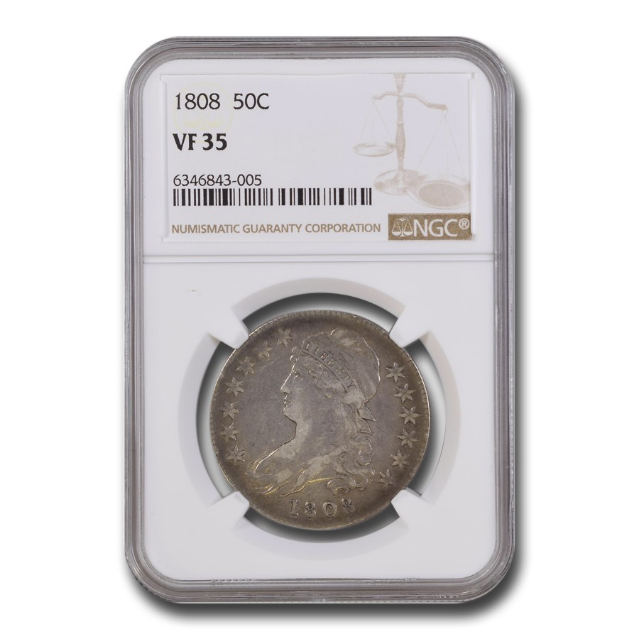 1808 Capped Bust Half Dollar VF-35 NGC