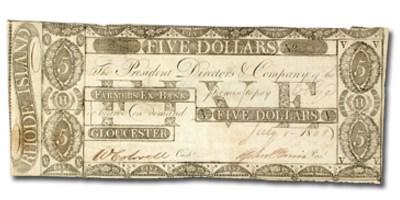 1808 Farmers Exchange Bk Gloucester, RI $5 RI-120 XF