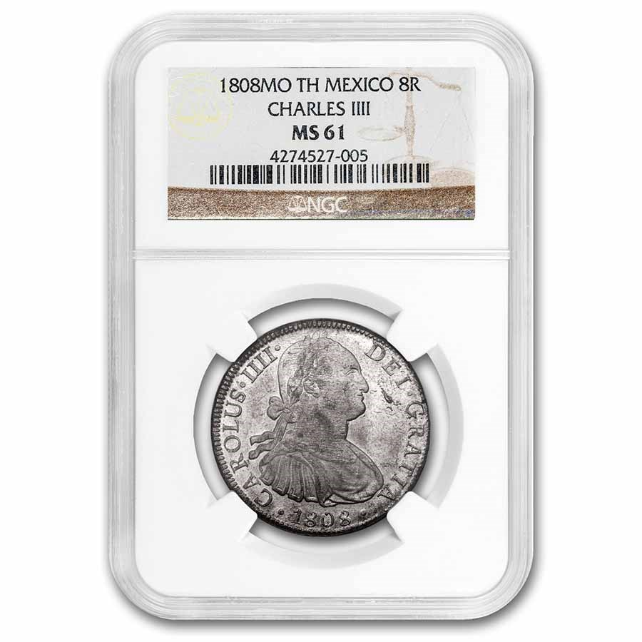 1808 Mo-TH Mexico Silver 8 Reales Charles IIII MS-61 NGC