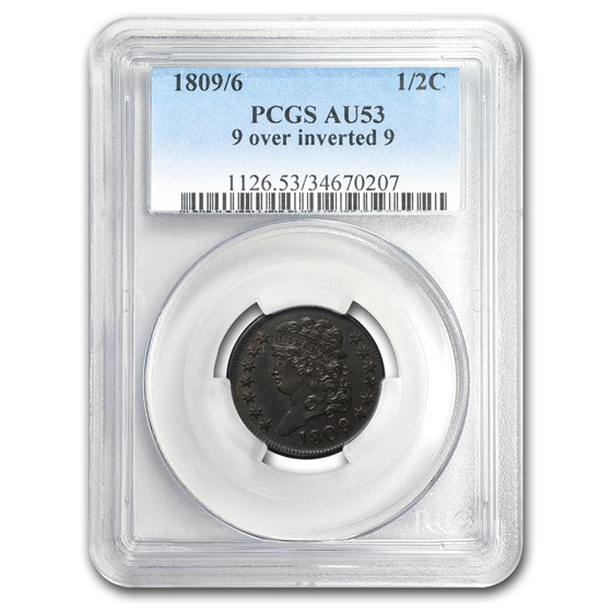 1809/6 Half Cent 9 Over Inverted 9 AU-53 PCGS (Brown)
