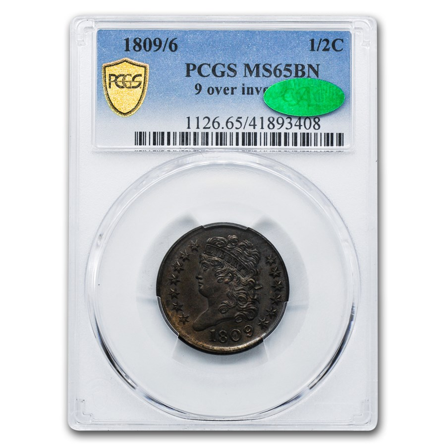 1809/6 Half Cent MS-65 PCGS (Brown, 9 over inverted 9)
