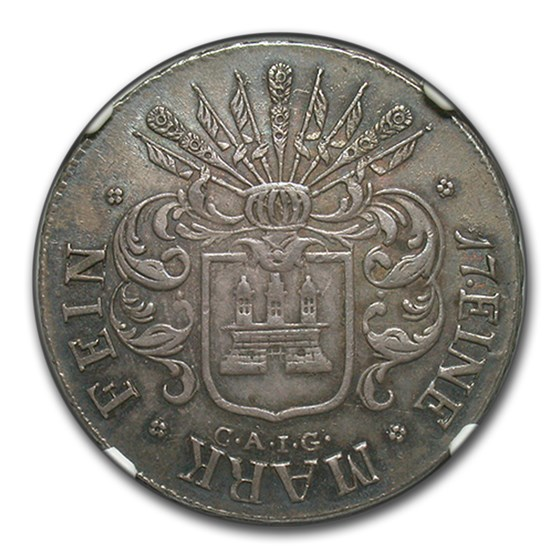 1809 CAIG Hamburg Silver 32 Schillings AU-58 NGC