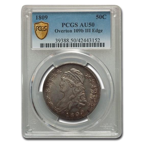 1809 Capped Bust Half Dollar AU-50 PCGS (Overton 109b III Edge)