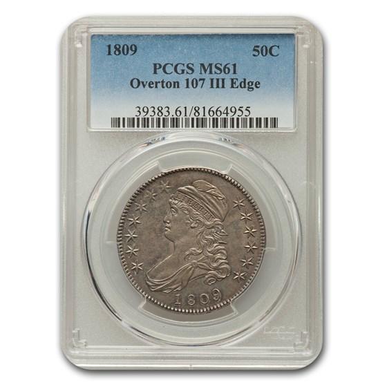 1809 Capped Bust Half Dollar MS-61 PCGS (IIII Edge)