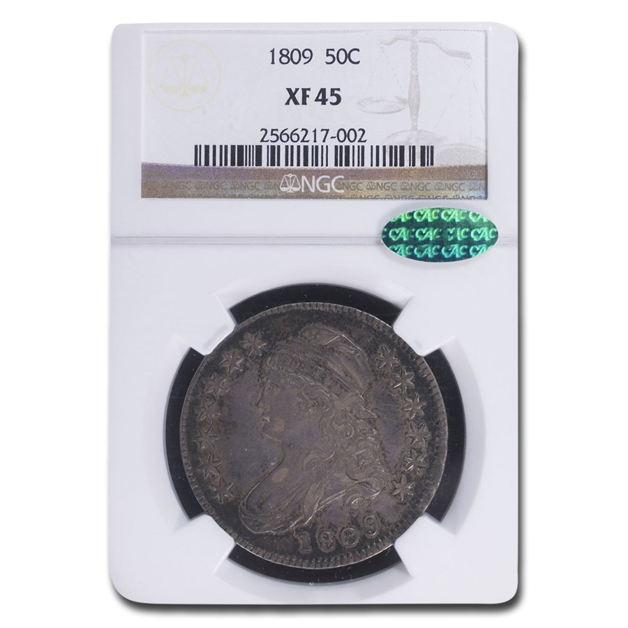 1809 Capped Bust Half Dollar XF-45 NGC CAC