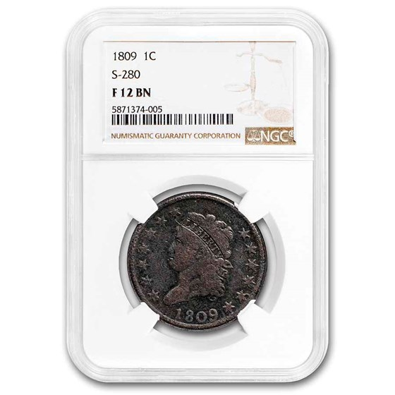 1809 Large Cent F-12 NGC (S-280, Brown)