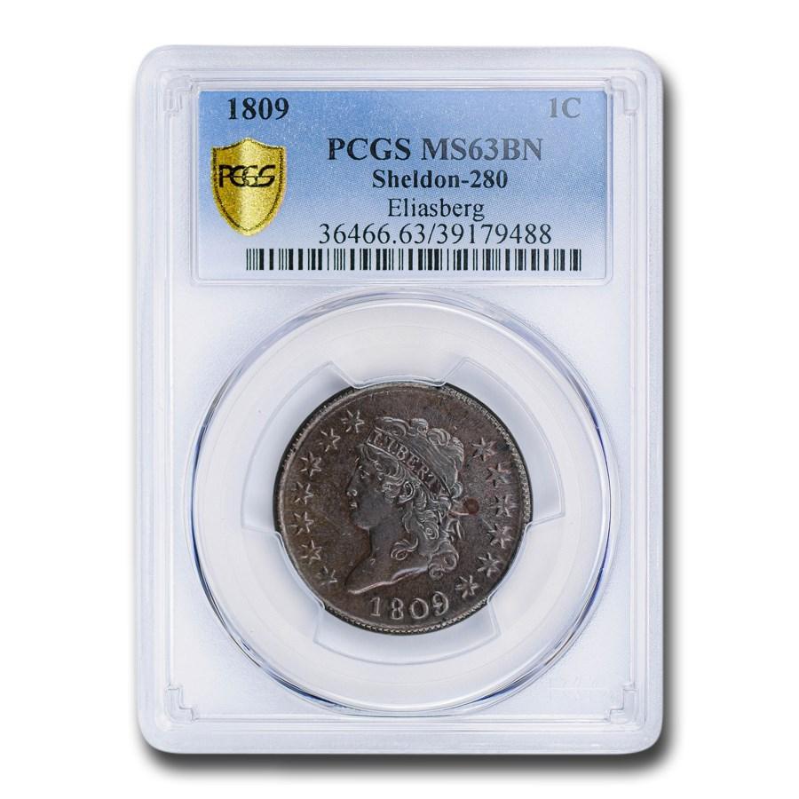1809 Large Cent MS-63 PCGS (Brown, Sheldon-280)