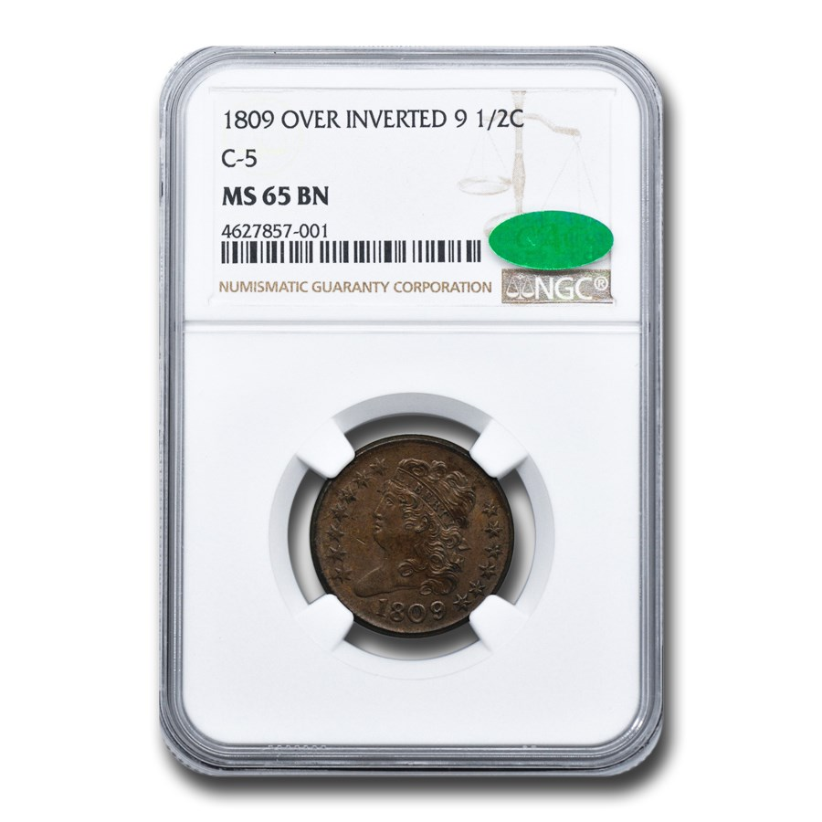 1809 Over Inverted 9 Half Cent MS-65 NGC CAC (Brown, C-5)