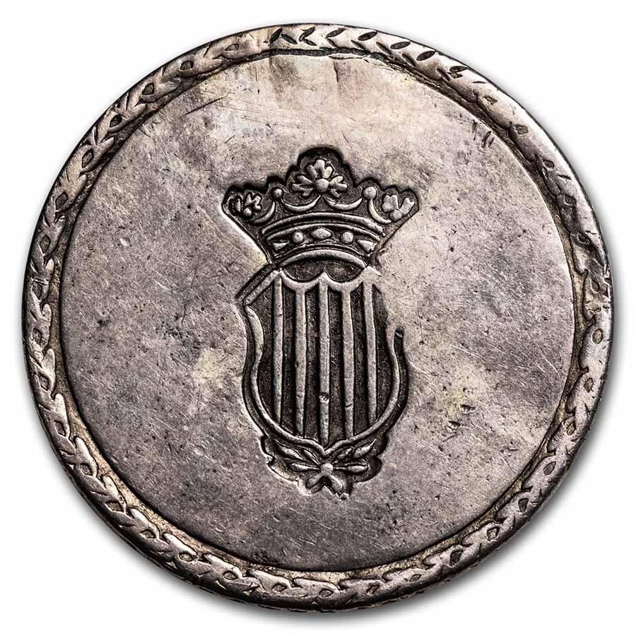 1809 Spain Terragona Silver 5 Pesetas XF Details (Plugged)
