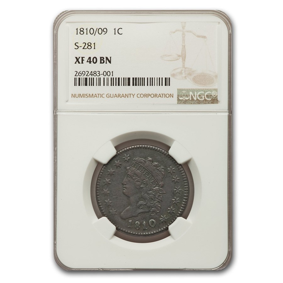 1810/09 Large Cent Fine XF-40 NGC (Brown, S-281)