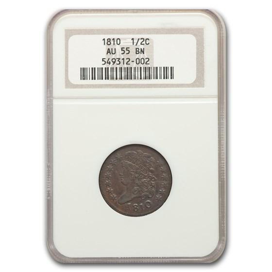 1810 Half Cent AU-55 NGC (Brown, C-1)