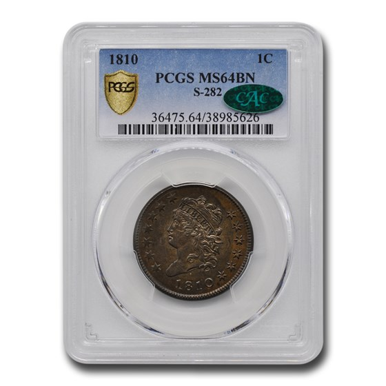 1810 Large Cent MS-64 PCGS CAC (Brown, S-282)