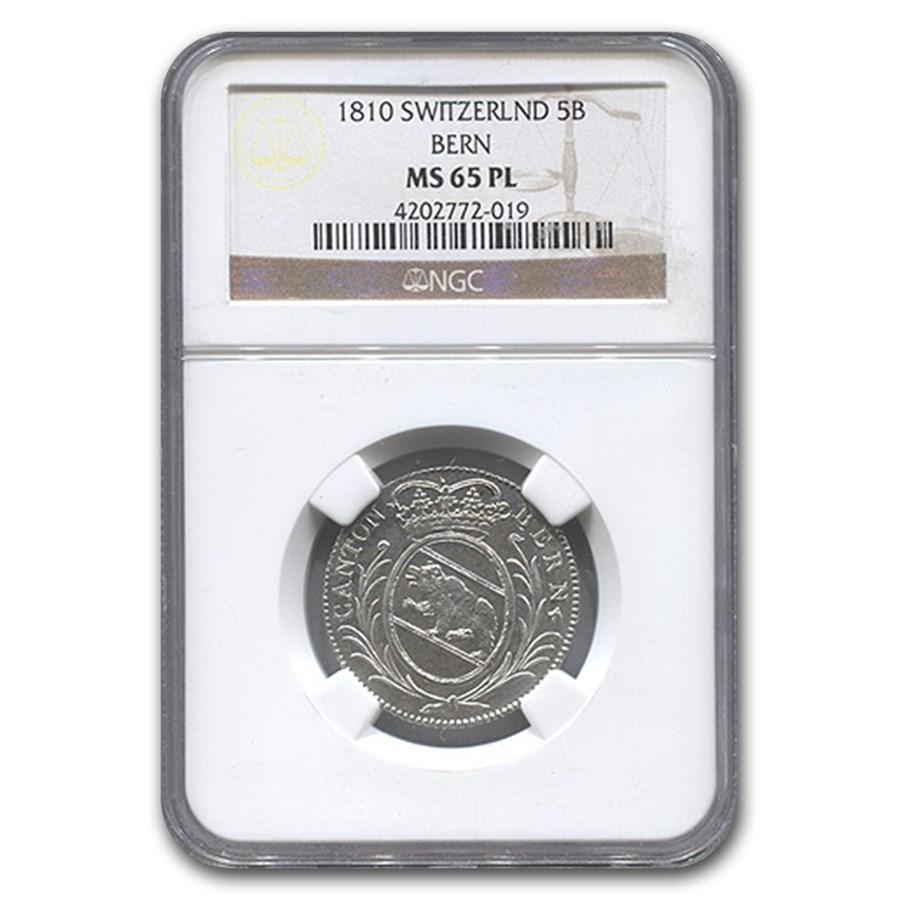 1810 Switzerland Silver 5 Batzen MS-65 NGC (PL)