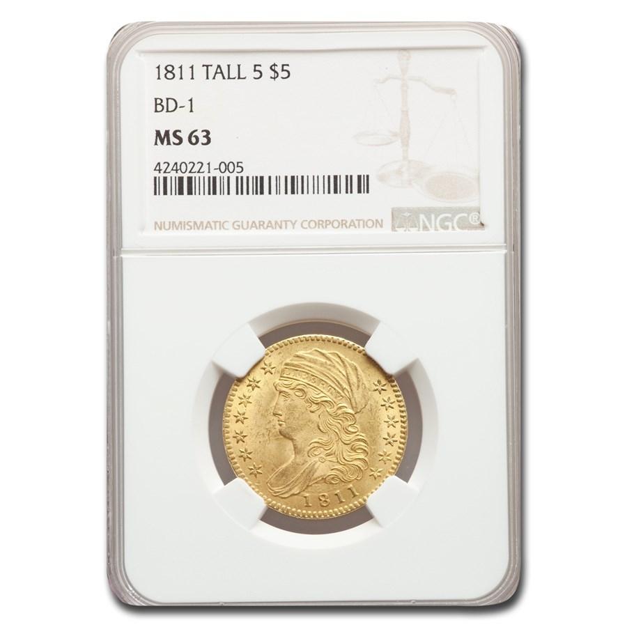 1811 $5 Turban Head Gold Half Eagle MS-63 NGC (Tall 5, BD-1)
