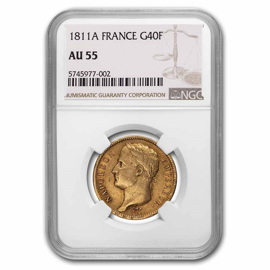 1811-A France 40-Francs Head of Napoleon AU-55 (Ex Stacks 1996)
